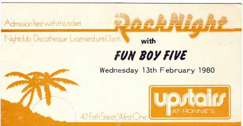 free ticket to see the funboy five at ronnie scotts
